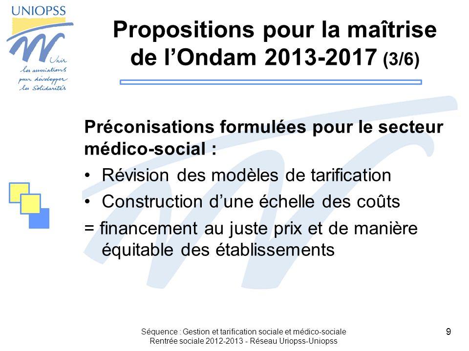 9 Propositions pour la maîtrise de lOndam 2013-2017 (3/6) Préconisations formulées pour le secteur médico-social : Révision des modèles de tarificatio