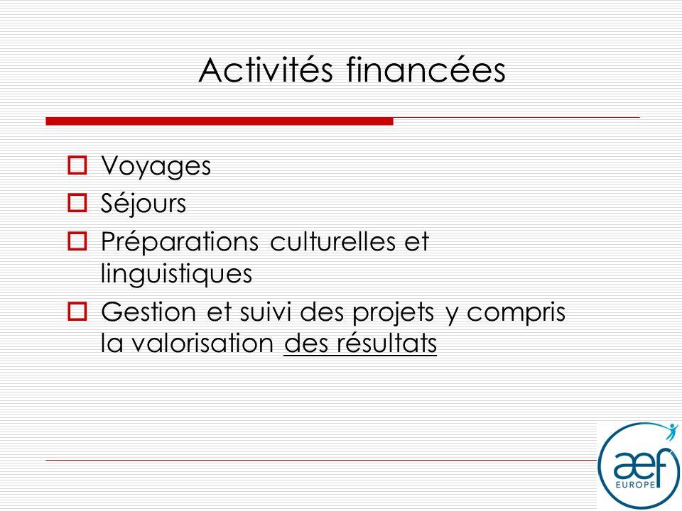 Activités financées Voyages Séjours Préparations culturelles et linguistiques Gestion et suivi des projets y compris la valorisation des résultats