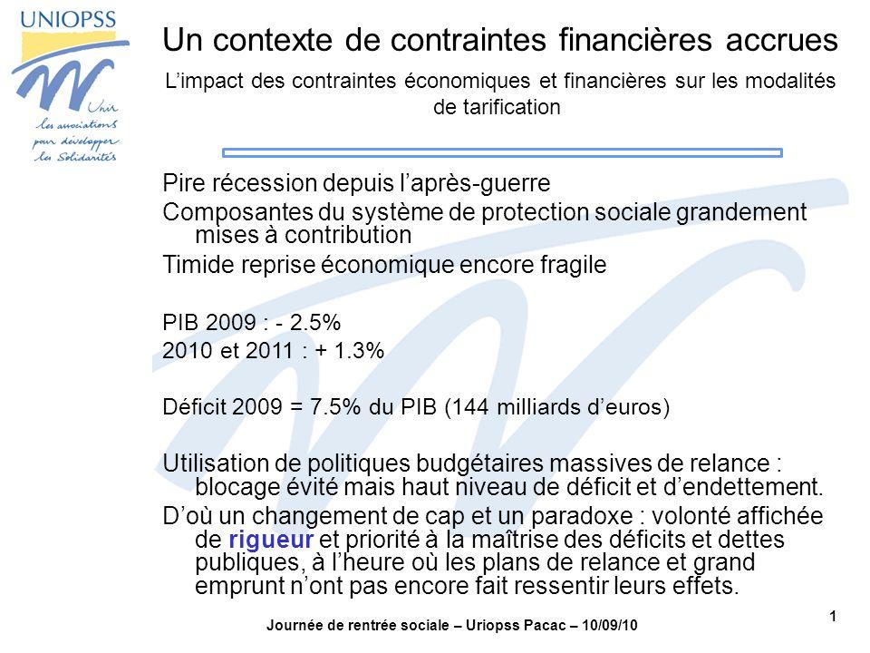 1 Journée de rentrée sociale – Uriopss Pacac – 10/09/10 Un contexte de contraintes financières accrues Limpact des contraintes économiques et financiè