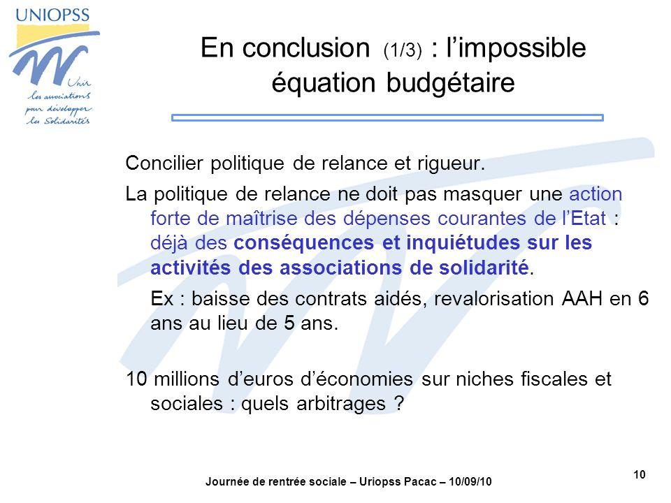 10 Journée de rentrée sociale – Uriopss Pacac – 10/09/10 En conclusion (1/3) : limpossible équation budgétaire Concilier politique de relance et rigue