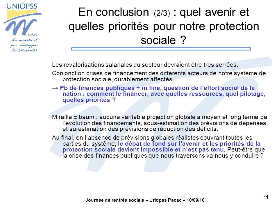 11 Journée de rentrée sociale – Uriopss Pacac – 10/09/10 En conclusion (2/3) : quel avenir et quelles priorités pour notre protection sociale ? Les re