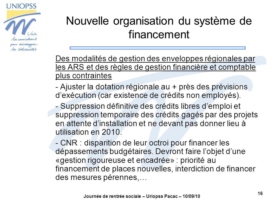 16 Journée de rentrée sociale – Uriopss Pacac – 10/09/10 Nouvelle organisation du système de financement Des modalités de gestion des enveloppes régio