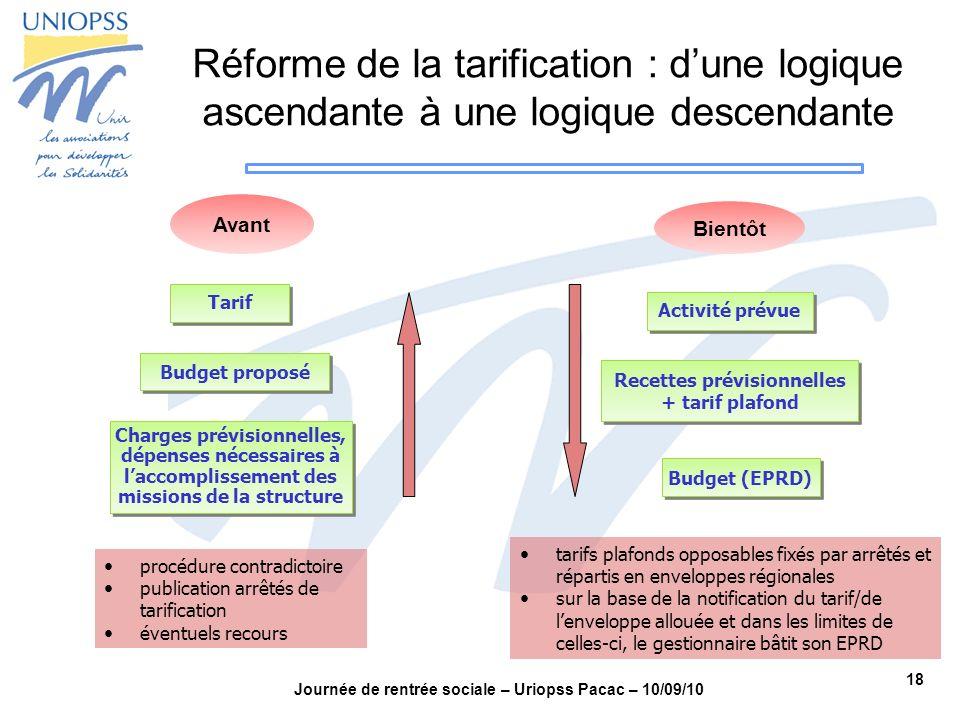 18 Journée de rentrée sociale – Uriopss Pacac – 10/09/10 Charges prévisionnelles, dépenses nécessaires à laccomplissement des missions de la structure