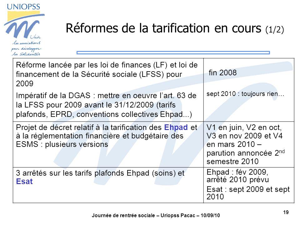 19 Journée de rentrée sociale – Uriopss Pacac – 10/09/10 Réforme lancée par les loi de finances (LF) et loi de financement de la Sécurité sociale (LFS