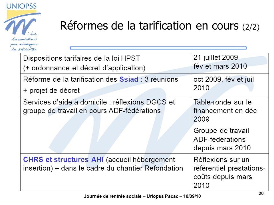 20 Journée de rentrée sociale – Uriopss Pacac – 10/09/10 Réformes de la tarification en cours (2/2) Dispositions tarifaires de la loi HPST (+ ordonnan