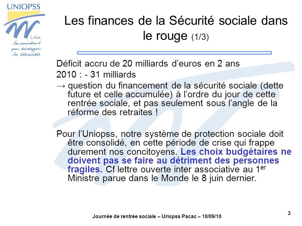 3 Journée de rentrée sociale – Uriopss Pacac – 10/09/10 Les finances de la Sécurité sociale dans le rouge (1/3) Déficit accru de 20 milliards deuros e