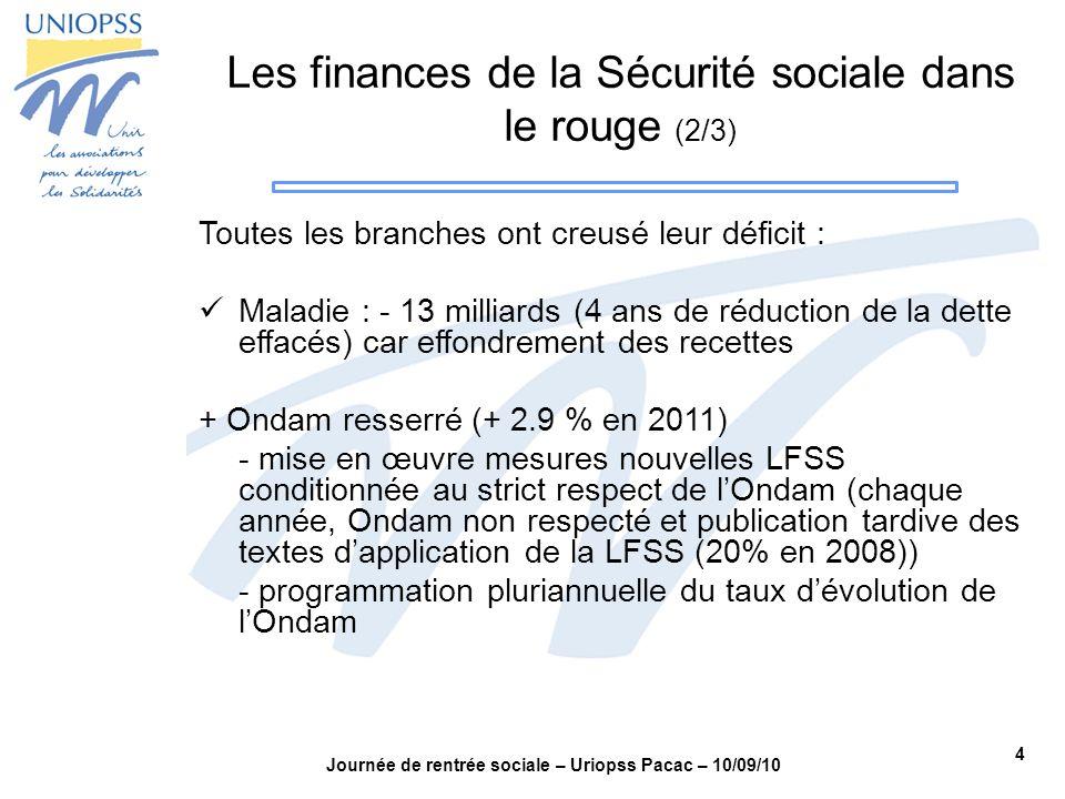 4 Journée de rentrée sociale – Uriopss Pacac – 10/09/10 Les finances de la Sécurité sociale dans le rouge (2/3) Toutes les branches ont creusé leur dé