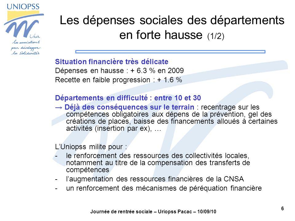 6 Journée de rentrée sociale – Uriopss Pacac – 10/09/10 Les dépenses sociales des départements en forte hausse (1/2) Situation financière très délicat