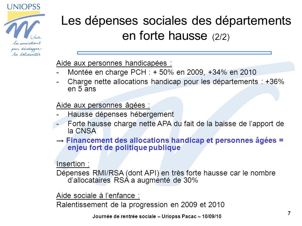 7 Journée de rentrée sociale – Uriopss Pacac – 10/09/10 Les dépenses sociales des départements en forte hausse (2/2) Aide aux personnes handicapées :