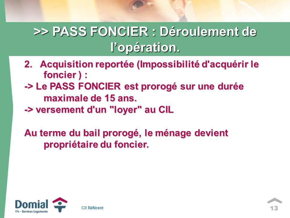 13 2. Acquisition reportée (Impossibilité d'acquérir le foncier ) : -> Le PASS FONCIER est prorogé sur une durée maximale de 15 ans. -> versement d'un