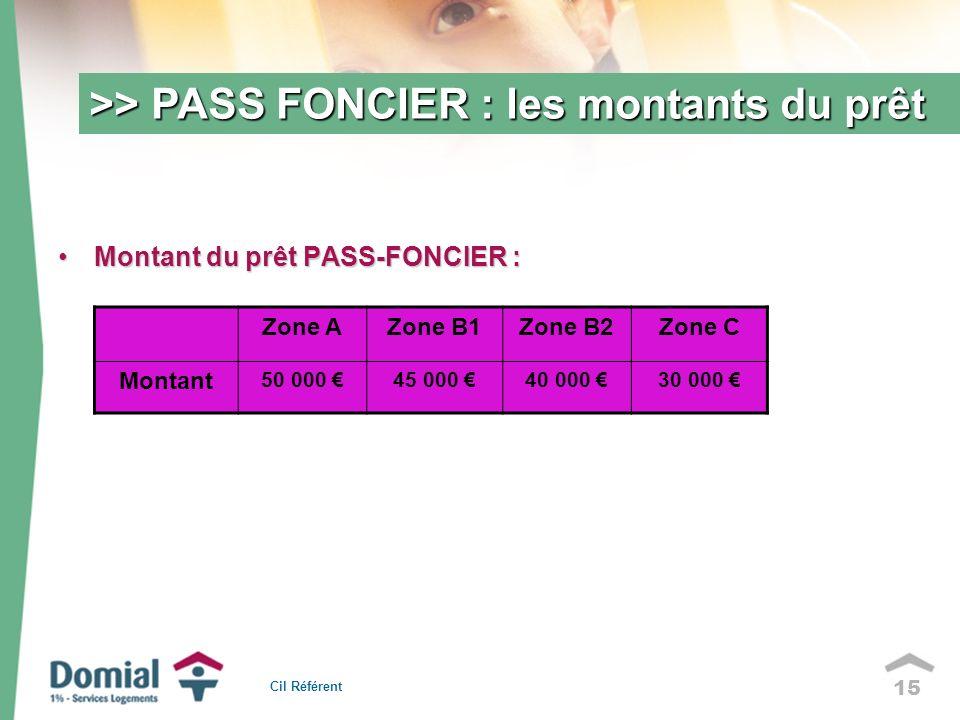 15 >> PASS FONCIER : les montants du prêt Montant du prêt PASS-FONCIER :Montant du prêt PASS-FONCIER : Cil Référent Zone AZone B1Zone B2Zone C Montant 50 000 45 000 40 000 30 000