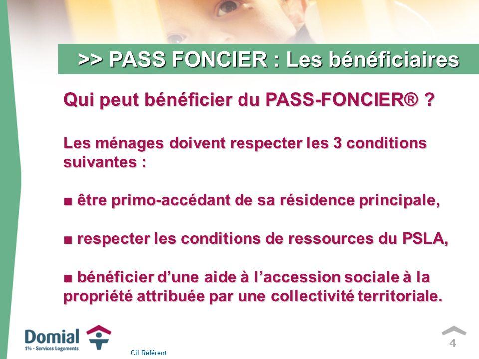 4 >> PASS FONCIER : Les bénéficiaires Qui peut bénéficier du PASS-FONCIER® .