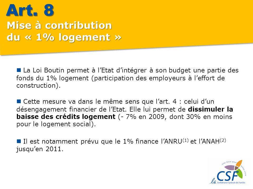 Mise à contribution du « 1% logement » La Loi Boutin permet à lEtat dintégrer à son budget une partie des fonds du 1% logement (participation des employeurs à leffort de construction).
