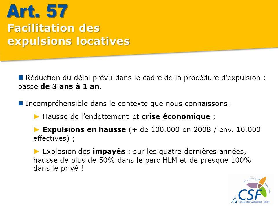 Facilitation des expulsions locatives Réduction du délai prévu dans le cadre de la procédure dexpulsion : passe de 3 ans à 1 an.