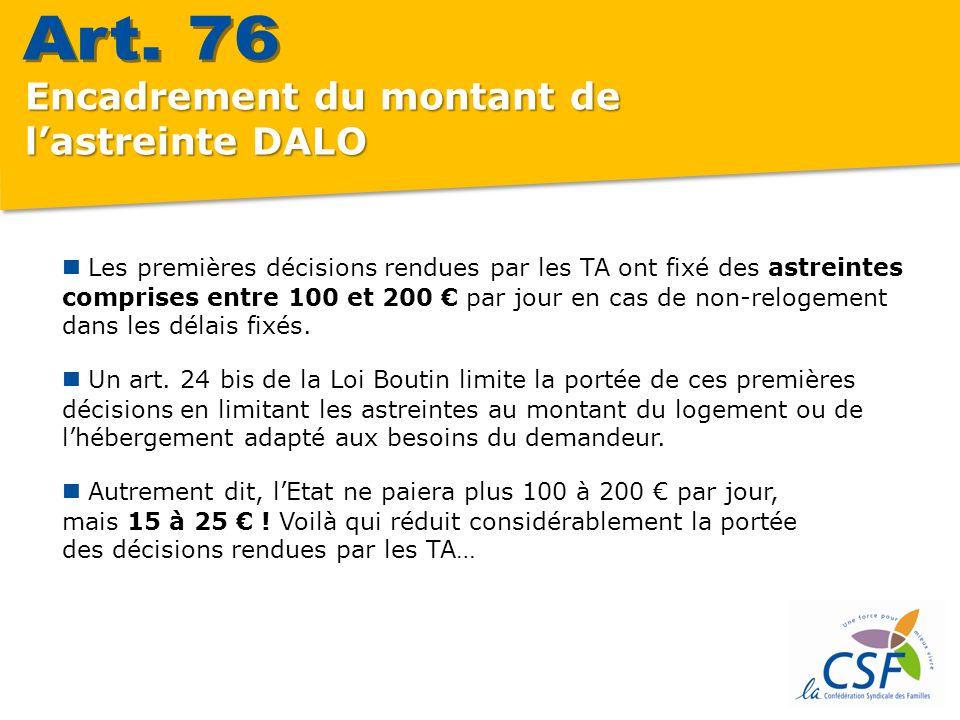 Encadrement du montant de lastreinte DALO Les premières décisions rendues par les TA ont fixé des astreintes comprises entre 100 et 200 par jour en cas de non-relogement dans les délais fixés.