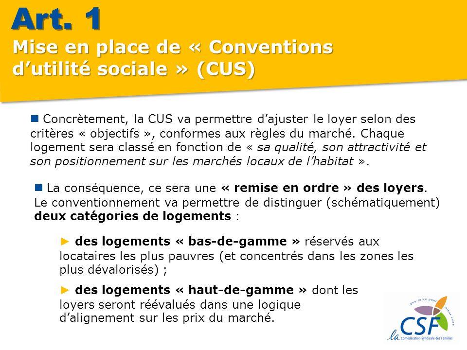 Concrètement, la CUS va permettre dajuster le loyer selon des critères « objectifs », conformes aux règles du marché.