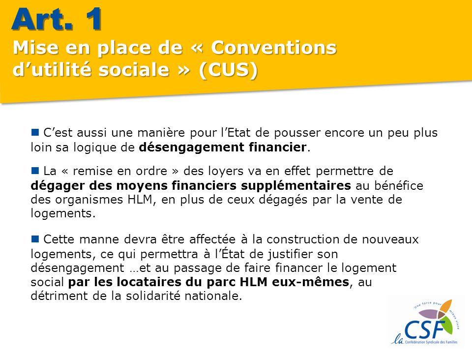 Mise en place de « Conventions dutilité sociale » (CUS) Dans la CUS, on retrouvera inévitablement la question de la vente des HLM.