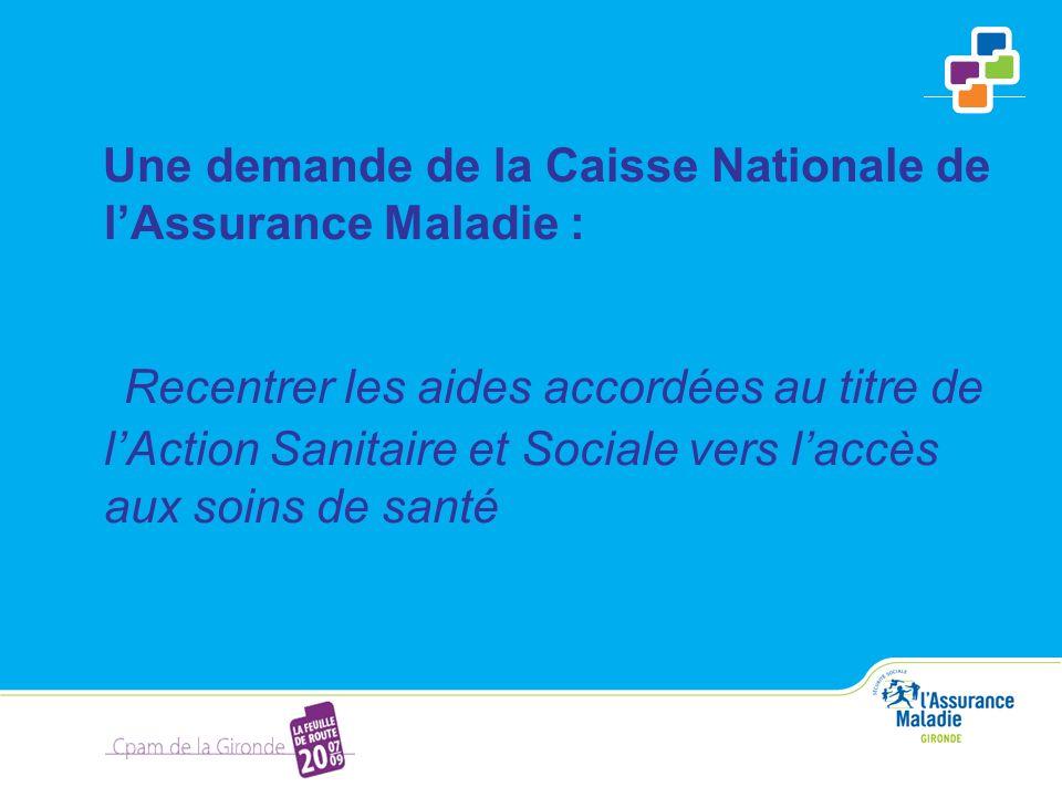 Une demande de la Caisse Nationale de lAssurance Maladie : Recentrer les aides accordées au titre de lAction Sanitaire et Sociale vers laccès aux soin