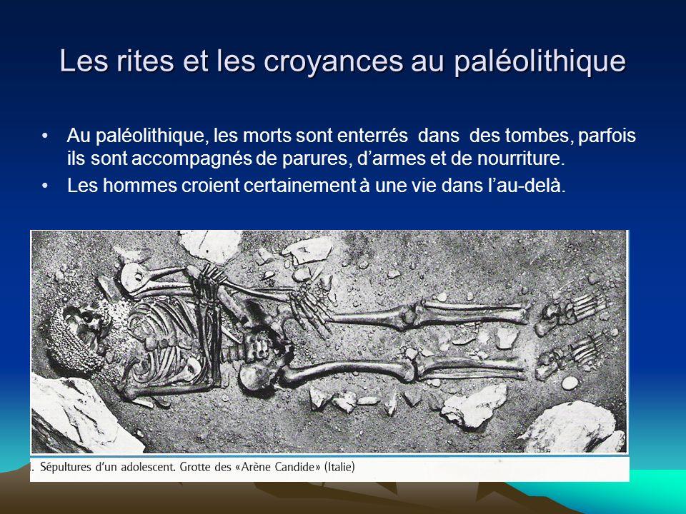 Les rites et les croyances au paléolithique On a retrouvé des grottes très profondes dont les parois et les plafonds ont été peints et gravés.