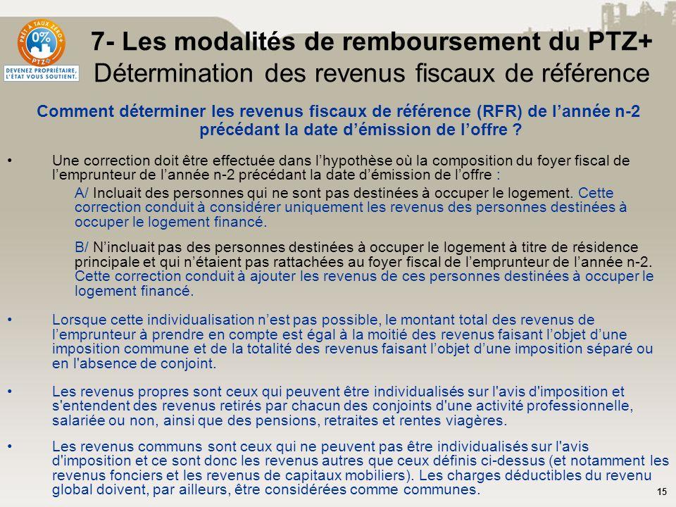 15 7- Les modalités de remboursement du PTZ+ Détermination des revenus fiscaux de référence Comment déterminer les revenus fiscaux de référence (RFR)