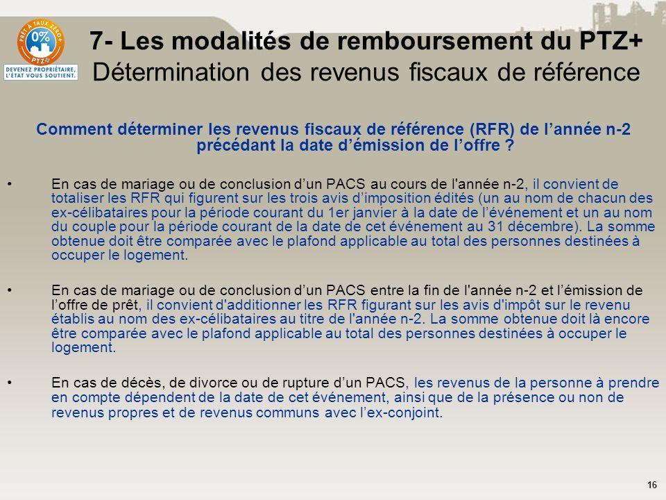 16 7- Les modalités de remboursement du PTZ+ Détermination des revenus fiscaux de référence Comment déterminer les revenus fiscaux de référence (RFR)