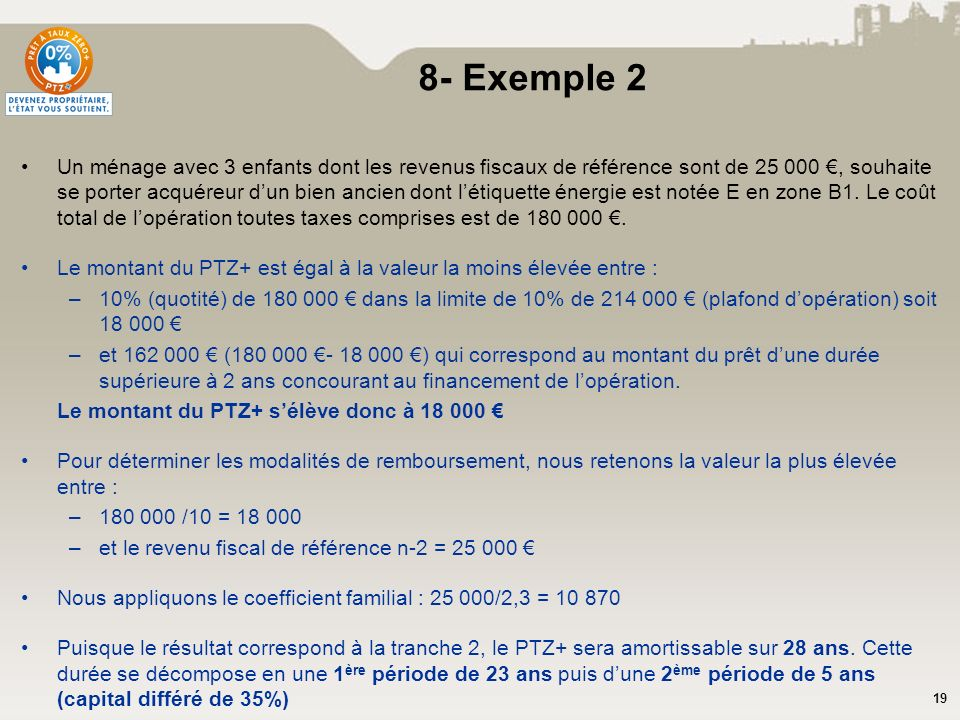 19 8- Exemple 2 Un ménage avec 3 enfants dont les revenus fiscaux de référence sont de 25 000, souhaite se porter acquéreur dun bien ancien dont létiq