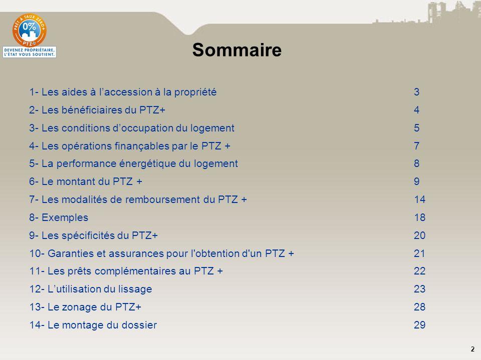 2 Sommaire 1- Les aides à laccession à la propriété3 2- Les bénéficiaires du PTZ+4 3- Les conditions doccupation du logement5 4- Les opérations finanç