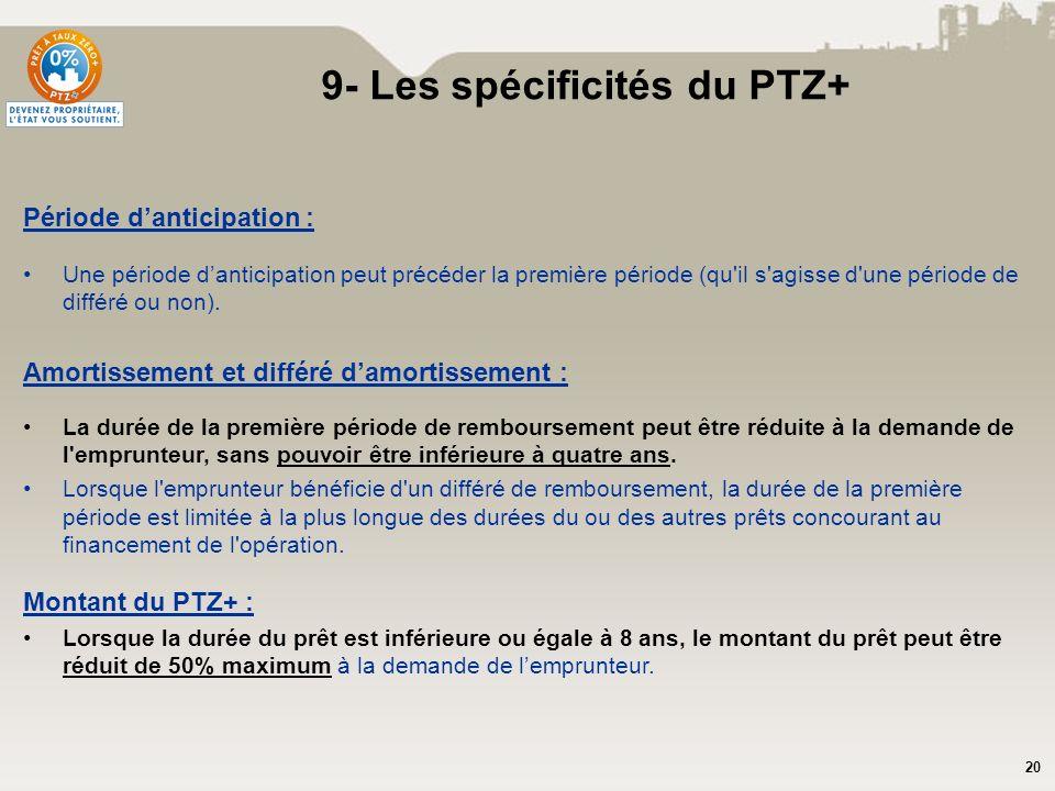 20 9- Les spécificités du PTZ+ Période danticipation : Une période danticipation peut précéder la première période (qu'il s'agisse d'une période de di