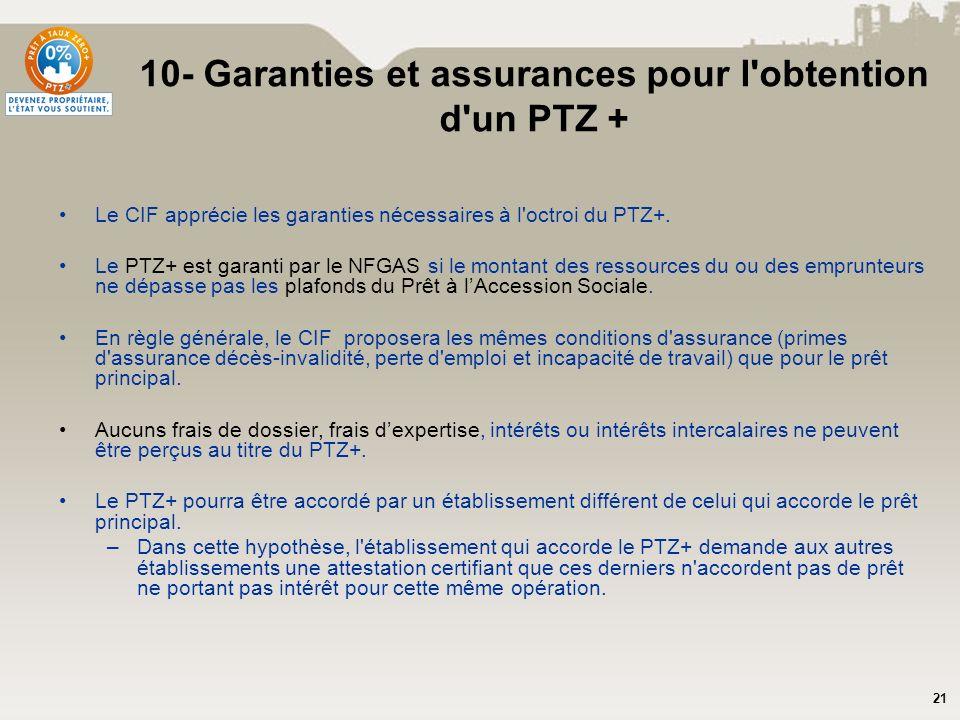 21 10- Garanties et assurances pour l'obtention d'un PTZ + Le CIF apprécie les garanties nécessaires à l'octroi du PTZ+. Le PTZ+ est garanti par le NF