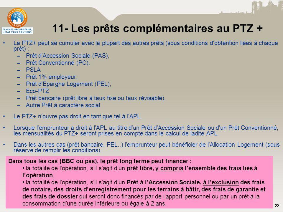 22 11- Les prêts complémentaires au PTZ + Le PTZ+ peut se cumuler avec la plupart des autres prêts (sous conditions d'obtention liées à chaque prêt) :