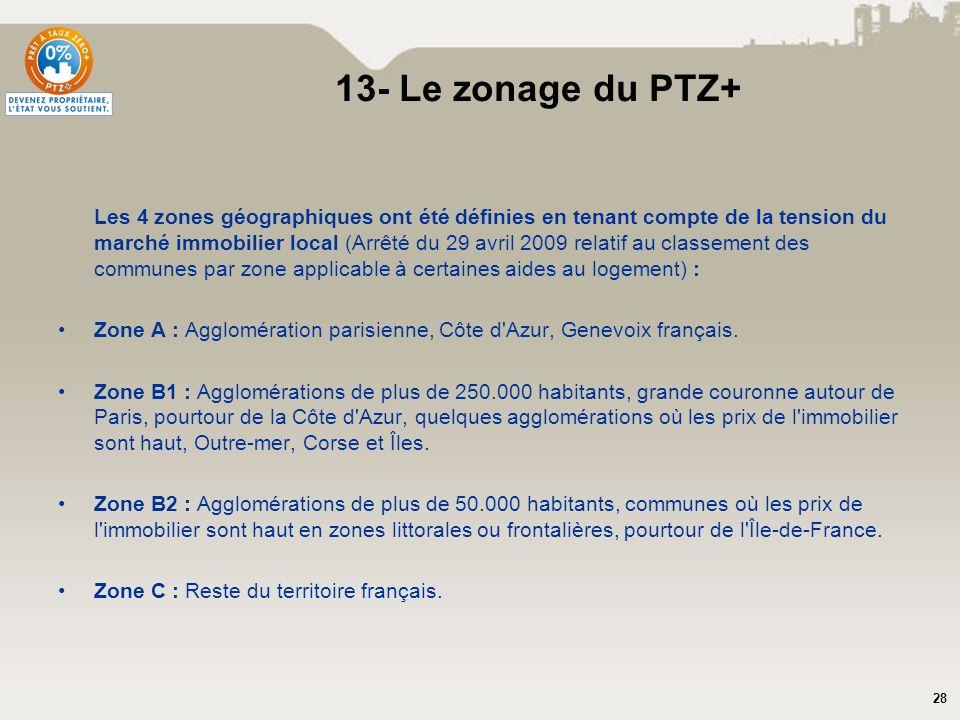 28 13- Le zonage du PTZ+ Les 4 zones géographiques ont été définies en tenant compte de la tension du marché immobilier local (Arrêté du 29 avril 2009