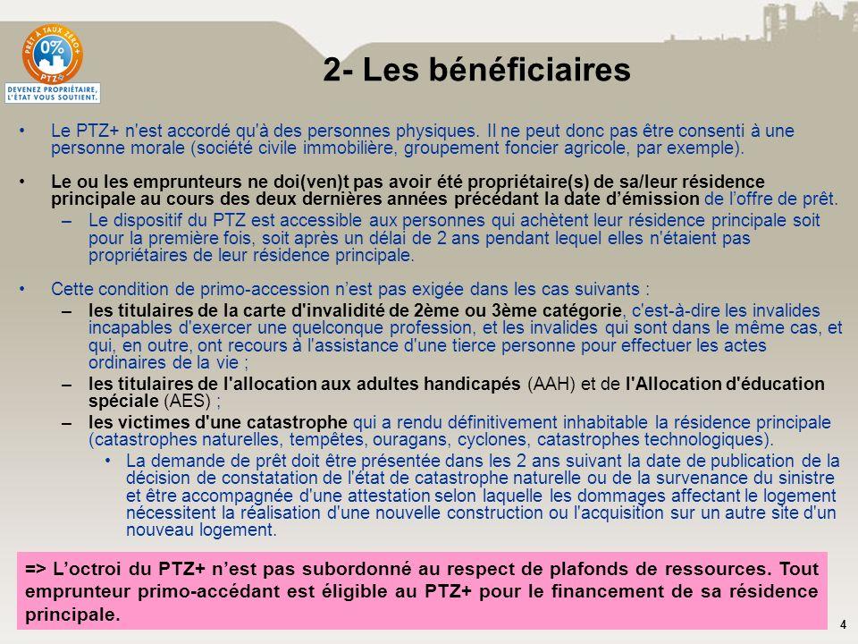 4 Le PTZ+ n'est accordé qu'à des personnes physiques. Il ne peut donc pas être consenti à une personne morale (société civile immobilière, groupement