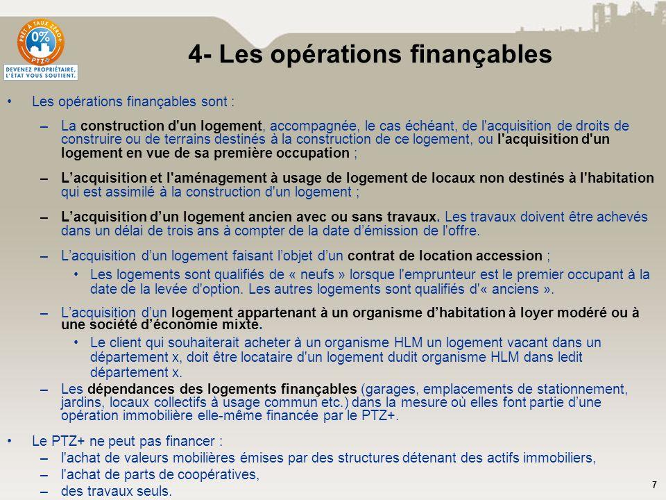 7 Les opérations finançables sont : –La construction d'un logement, accompagnée, le cas échéant, de l'acquisition de droits de construire ou de terrai