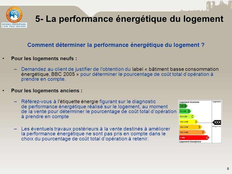 8 Comment déterminer la performance énergétique du logement ? Pour les logements neufs : –Demandez au client de justifier de l'obtention du label « bâ