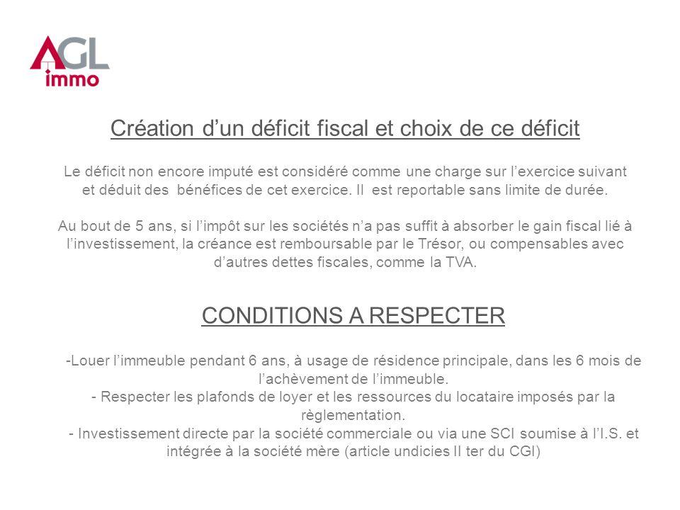 Création dun déficit fiscal et choix de ce déficit Le déficit non encore imputé est considéré comme une charge sur lexercice suivant et déduit des bénéfices de cet exercice.