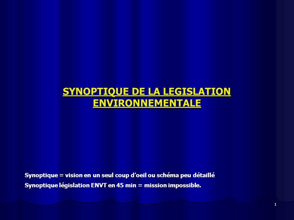 1 SYNOPTIQUE DE LA LEGISLATION ENVIRONNEMENTALE Synoptique = vision en un seul coup doeil ou schéma peu détaillé Synoptique législation ENVT en 45 min