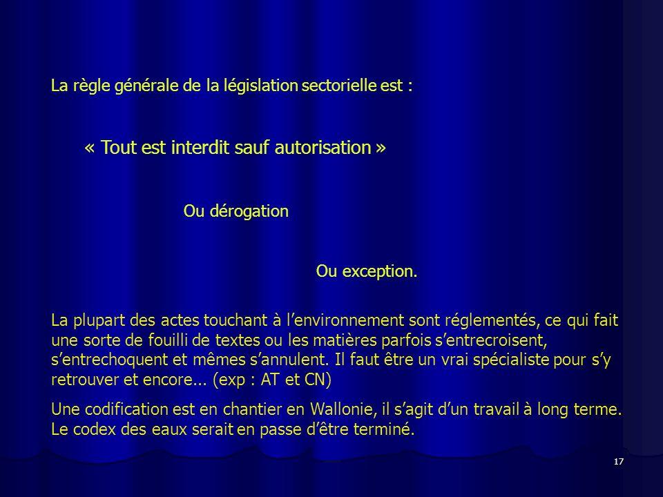 17 La règle générale de la législation sectorielle est : « Tout est interdit sauf autorisation » Ou dérogation Ou exception. La plupart des actes touc