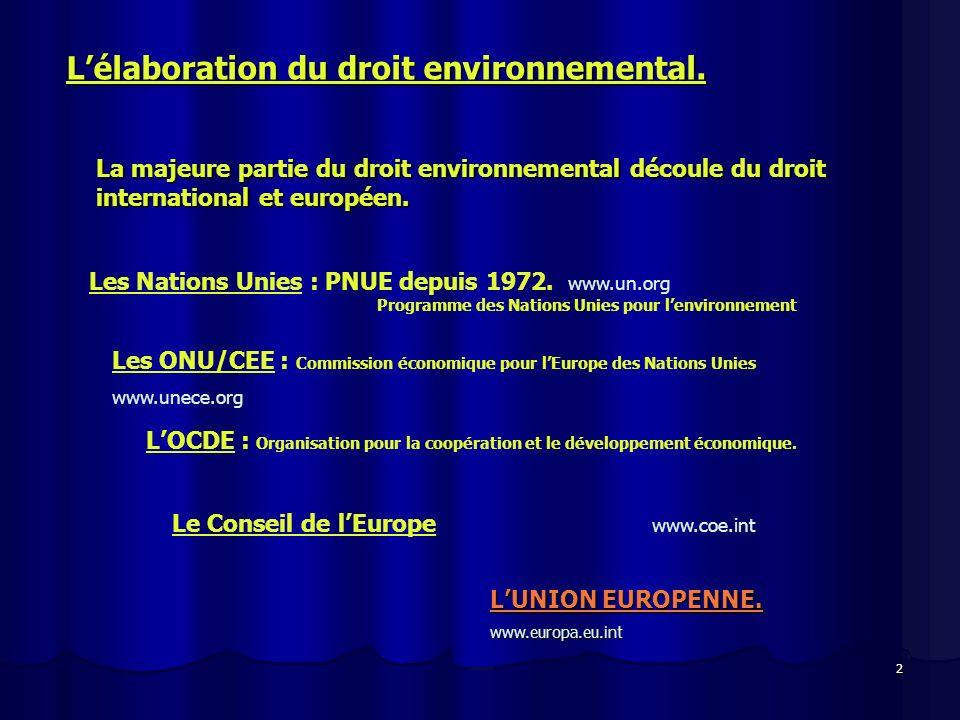 2 Lélaboration du droit environnemental. La majeure partie du droit environnemental découle du droit international et européen. Les Nations Unies : PN