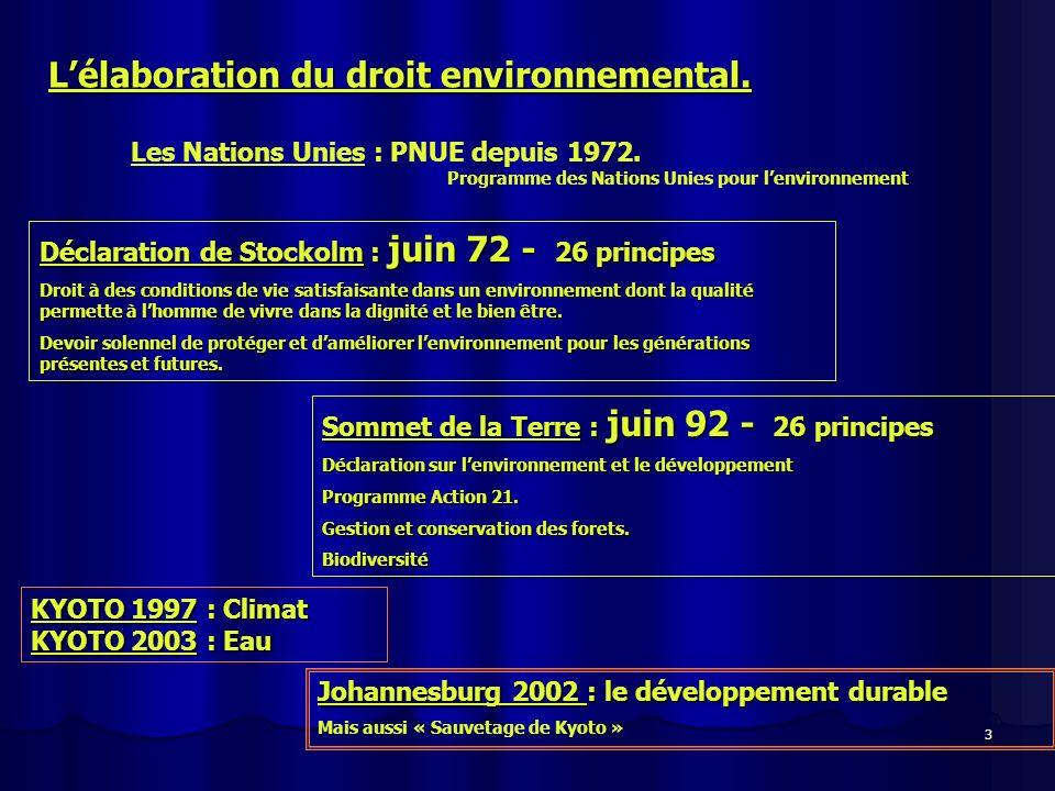 4 Lélaboration du droit environnemental.55 Etats dont USA, Canada et Israël.