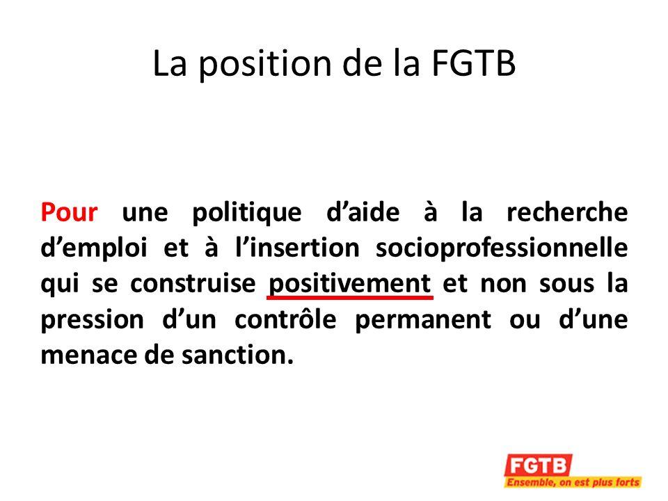 La position de la FGTB solidaire avec les chômeurs car la pression permanente exercée à leur encontre favorise la précarisation du marché de lemploi flexibilisation des conditions de travail flexibilisation des salaires.