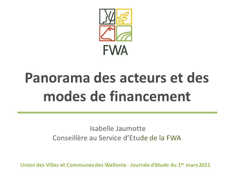 Panorama des acteurs et des modes de financement Isabelle Jaumotte Conseillère au Service dEtude de la FWA Union des Villes et Communes des Wallonie - Journée détude du 1 er mars 2011