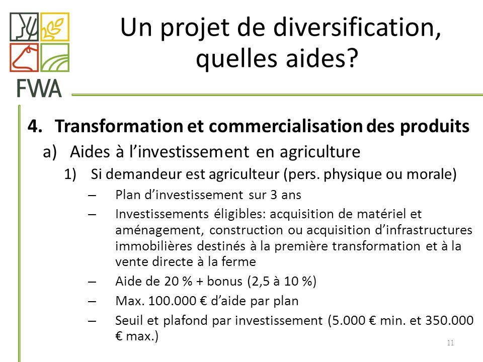4.Transformation et commercialisation des produits a)Aides à linvestissement en agriculture 1)Si demandeur est agriculteur (pers.