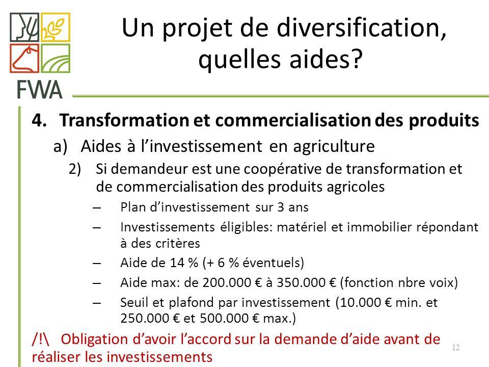 4.Transformation et commercialisation des produits a)Aides à linvestissement en agriculture 2)Si demandeur est une coopérative de transformation et de