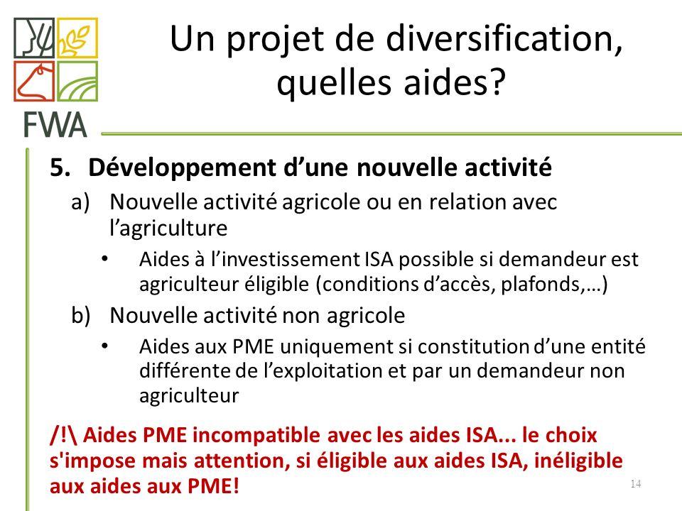 5.Développement dune nouvelle activité a)Nouvelle activité agricole ou en relation avec lagriculture Aides à linvestissement ISA possible si demandeur