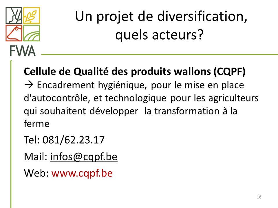 Un projet de diversification, quels acteurs? Cellule de Qualité des produits wallons (CQPF) Encadrement hygiénique, pour le mise en place d'autocontrô