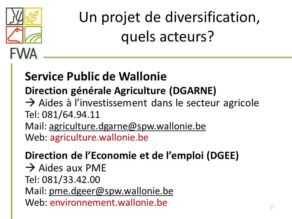 Un projet de diversification, quels acteurs? Service Public de Wallonie Direction générale Agriculture (DGARNE) Aides à linvestissement dans le secteu