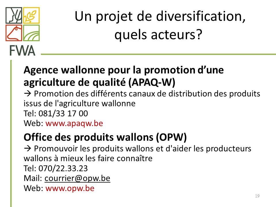 Un projet de diversification, quels acteurs? Agence wallonne pour la promotion dune agriculture de qualité (APAQ-W) Promotion des différents canaux de