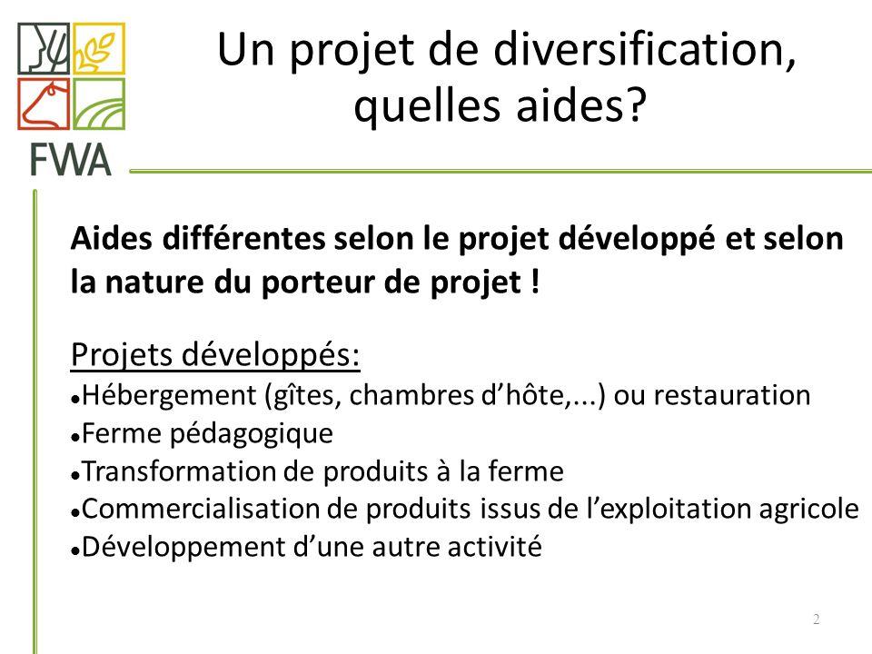 Aides différentes selon le projet développé et selon la nature du porteur de projet ! Projets développés: Hébergement (gîtes, chambres dhôte,...) ou r