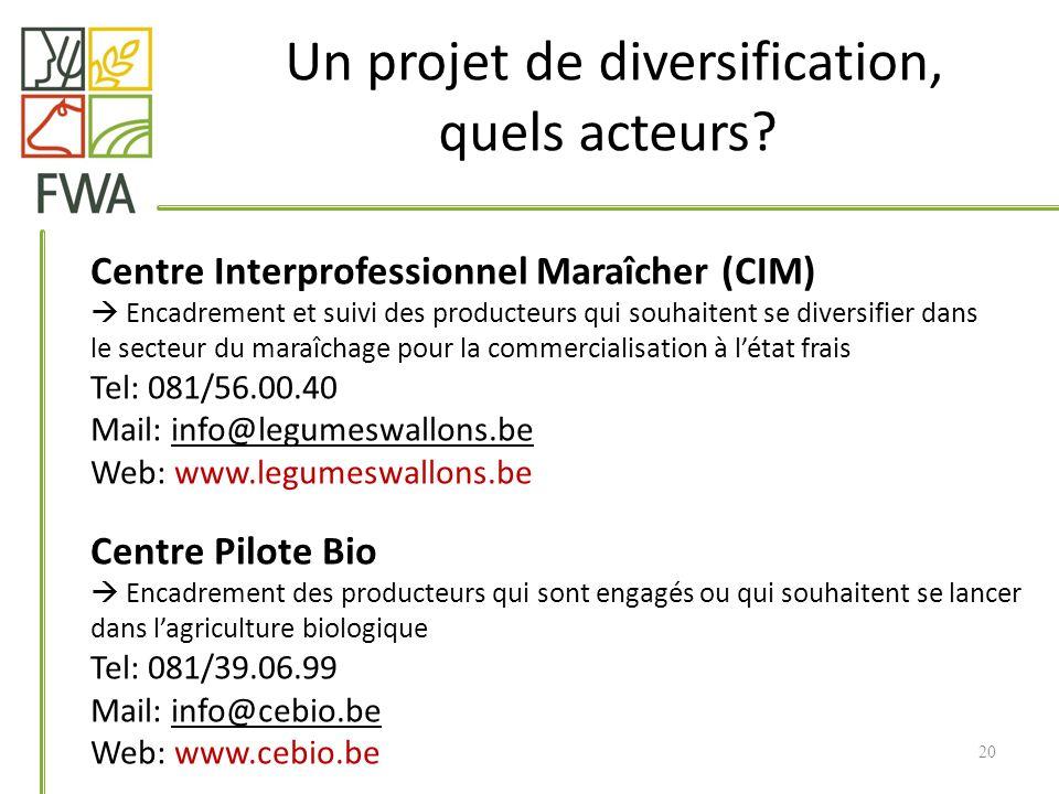 Un projet de diversification, quels acteurs? Centre Interprofessionnel Maraîcher (CIM) Encadrement et suivi des producteurs qui souhaitent se diversif