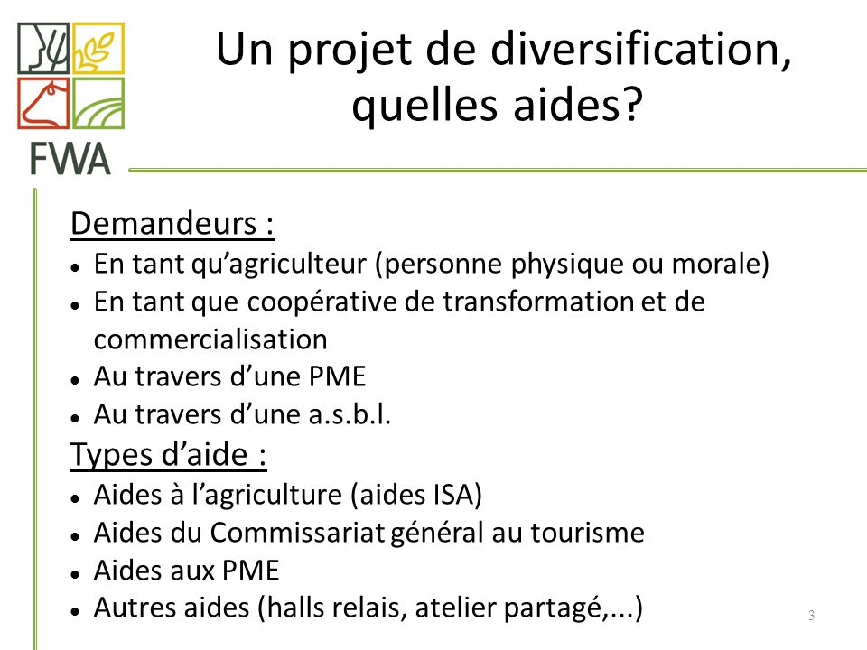 Demandeurs : En tant quagriculteur (personne physique ou morale) En tant que coopérative de transformation et de commercialisation Au travers dune PME Au travers dune a.s.b.l.